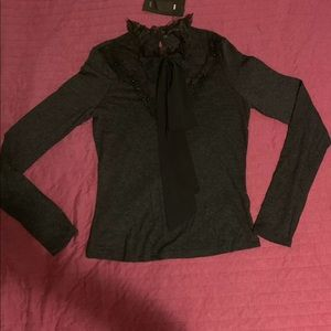 Zara victorian style long sleeve black top NWT